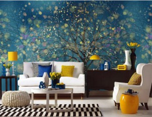 Cheerful-living-room-with-fabulous-blue-Painted-wall-mural-and-pop-of-yellow-table-lamp-also-chic-white-armchair-1024x789